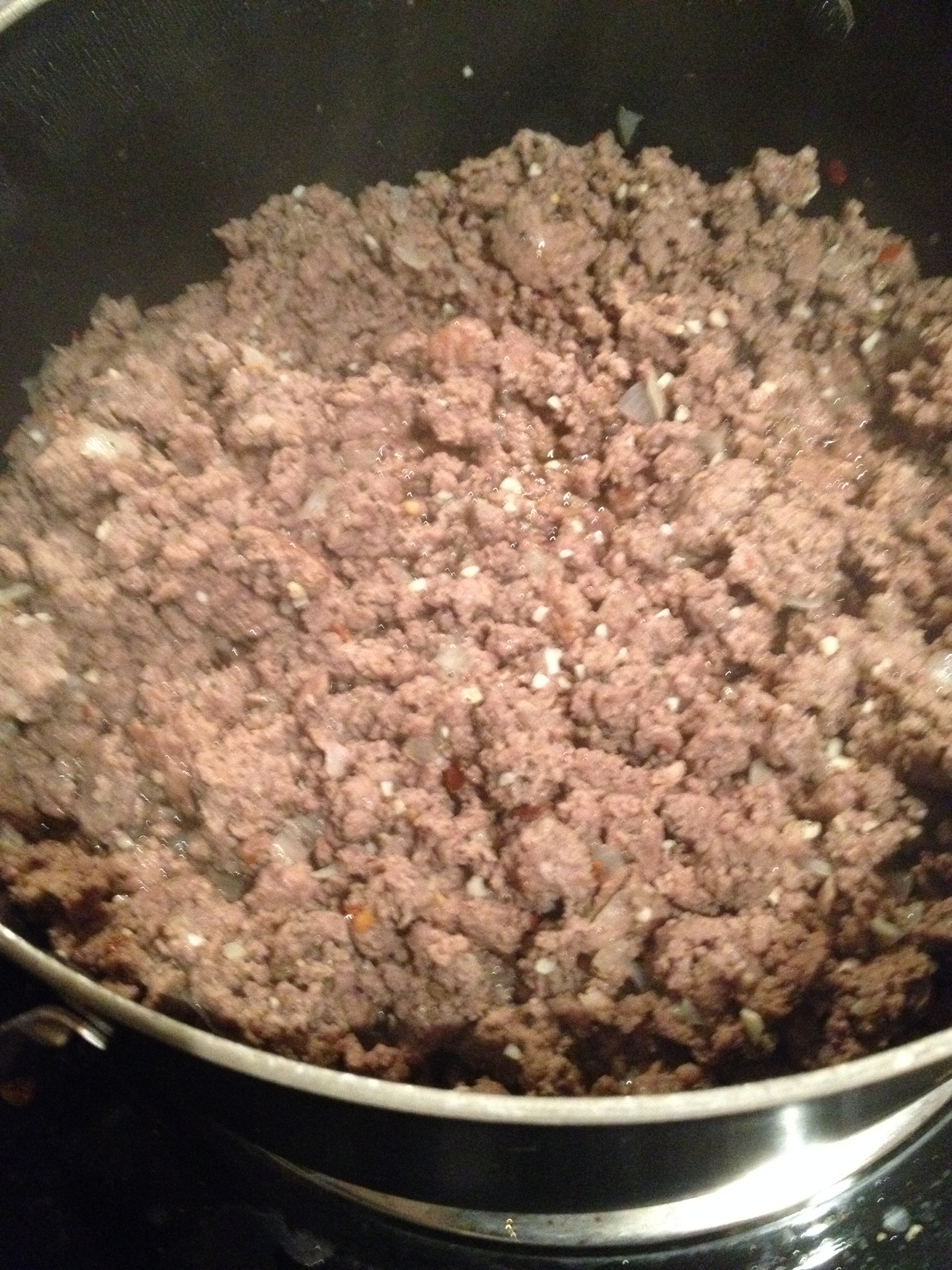 Brown yo' meat first! I mixed in salt, pepper, 1/4 cup of diced white onion, 1 T each of basil and oregano.